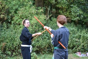 zomertraining karate kobudo-training in de buitenlucht